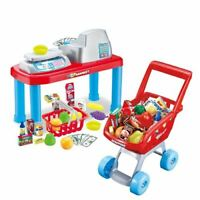 Luxury Mini Supermarket Play Set Kids Cashier Till & Shopping Trolley XMAS Toy