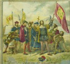 1870's Victorian Scrap Card Landing Of Columbus Flags Swords Fabulous! &M