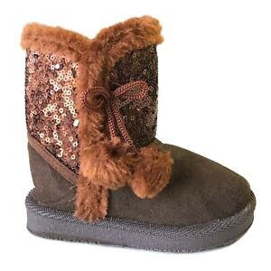 New Baby Boots Round Toe Faux Fur Sequin Soft Pompom Toddler Shoe Size 2 to 9