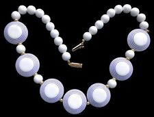 "Vintage 70's PERIWINKLE & WHITE LUCITE ""Bulls-eye"" BEAD NECKLACE,fjt"
