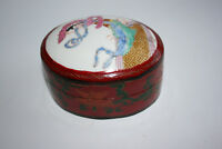 Chinese Wooden Painted Trinket Oval Small Box with Porcelain Inset Lid