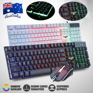 LED Rainbow Backlight Illuminated Gaming Keyboard Mouse Wired USB Ergonomic