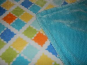 30x45 Little Miracles Squares Plush Chamois Velour baby Crib Stroller Blanket