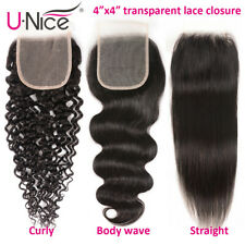 Transparent 4X4 Lace Closure 8A Brazilian Curly/Straight/Wavy Human Hair Closure