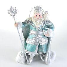 Teal Snow King Santa Christmas Ornament NEW