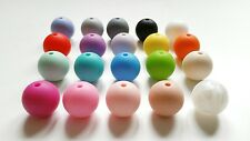 100x Silicone teething beads 15mm wholesale necklace dummy clips jewellery UK