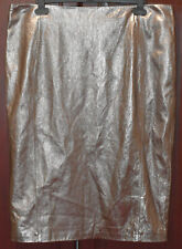 Per Una Speziale M&S Lined Real Leather Fashion Shiny Silver Skirt Size UK 18
