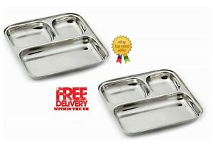 """Stainless Steel Thali Tray Plate 3 Compartment Dish Plate Tray BBQ Party 10"""""""