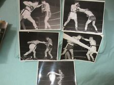 """LOT OF """"5"""" ORIG 11/24/1952 ONSITE 8""""x10"""" PHOTOS-CHICO VEJAR VS LUCIANO-1 SIGNED"""