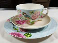 The English Table Cup Saucers Snack Plate birds flowers Dinnerware