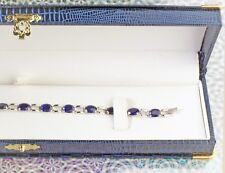 Antique Style Blue Faux Iguana Engagement Bracelet Layout Box with Gold Clasp
