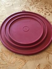 "Lot of 3 Red Tupperware Lids, 9"", 7.25"", 5.75"". The Letters Z, X and B On Tabs"