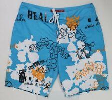 Beach Rays Men's 31 turquoise blue white orange board shorts hawaiian tropical