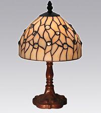 Tiffany Lampe , Tiffanylampe Tischlampe natur, weiß, Glasperlen neu T94 S
