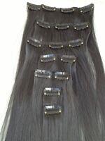 "jet black 7 pcs set straight 20"" long clip in on hair extension heat resist new"