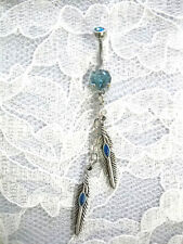CUSTOM MADE DOUBLE DANGLING FEATHER w BLUE INLAY BABY BLUE CZ BELLY BUTTON RING