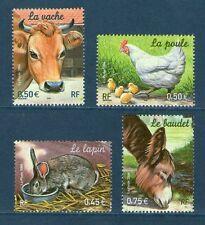 SERIE TIMBRES 3662-3665 NEUFS XX LUXE - ANIMAUX DE LA FERME - VACHE LAPIN POULE