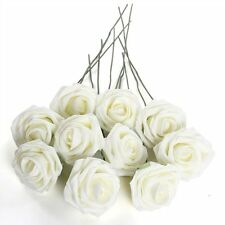 D6 Ivory Artificial Foam Rose Bouquet 10 PE Floral Flowers Wedding Decor 7cm