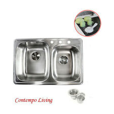 "33"" Topmount Drop In 60/40 Stainless Steel Kitchen Sink With Black Dish Rack"