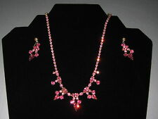 Vintage SHERMAN Signed Pink Rhinestone Set Necklace / Earring Screw Gold Plated