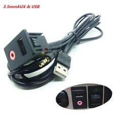 Auto Boat Audio Dash Flush Mount USB 3.5mm AUX Male Mounting Adapter Panel Input