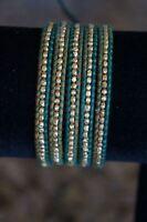 NEW Chan Luu Men Women Gold Vermeil Nugget Green Natural Leather 5 Wrap Bracelet