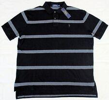 New Large L POLO RALPH LAUREN Mens short sleeve polo shirt black gray stripe top