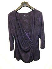 Lane Bryant 18 20 Dark Purple Surplice Top Deep V Faux Wrap Shirt 3/4 Sleeve