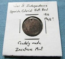 1816 War of Independence Spanish Crude Silver Half Real Zacatecas Mexico (DC)