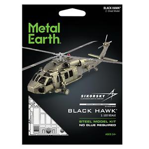 Fascinations Metal Earth Sikorsky BLACK HAWK Army Helicopter 3D Model Kit 1:122