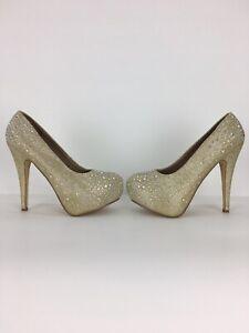 "Stilettos Women's Bridal Gold Champagne Diamante Faux Crystals 5 1/2"" Platform 6"