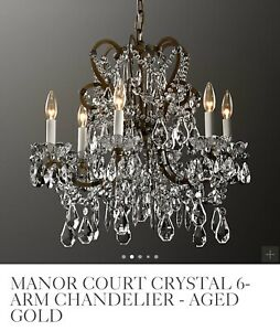 RESTORATION HARDWARE Chandelier Manor Court Crystal Gold 6 Arm