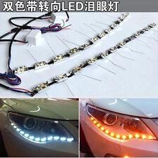 Car LED Angel Tear Daytime Running Light Turn Signal Lamp White Amber Switchback
