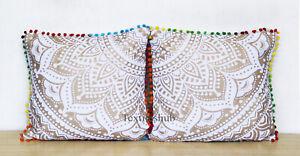 "2 Pcs Set Of 16"" Indian Mandala White Gold Sofa Decor Cushion Case Cover Throw"