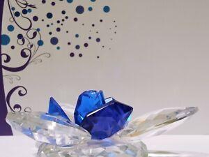 Crystal home art decor blue swamp flower natural austrian crystal