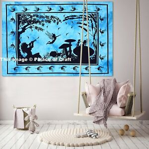 Indian Cotton Fairy Land Tapestry Small Poster Boho Hippie Wall Hanging Yoga Mat
