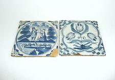Zwei Keramik Fliesen Niederlande Holland 18 Jh. Kachel