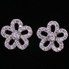 18K  White Gold Filled - Clear Zircon Hollow Flower Circle Prom Lady Earrings
