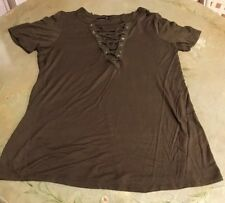 Hippie Chic Army Green Lace Up V Neck Top Women's Size S Top