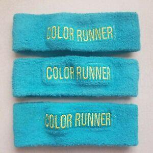 3 COLOR RUN HEADBANDS / SWEATBANDS BUNDLE  in TEAL and YELLOW - WALKING RUNNING