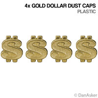 4x Gold Dollar Sign Car Bike Motorcycle BMX Wheel Tyre Valve Plastic Dust Caps