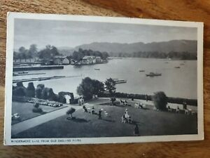WINDERMERE LAKE FROM OLD ENGLAND HOTEL POSTCARD 1933