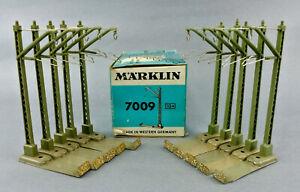 MARKLIN HO SCALE 7009 CATENARY OVERHEAD MAST & BASE 10 PIECES BLUE BOX