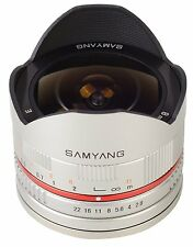 Clearance Samyang 8mm Fisheye F2.8 Silver Manual Focus Lens - Sony E (open box)