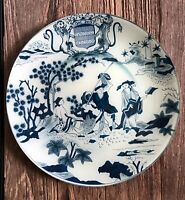 "JOHN DERIAN DECOUPAGE PLATE 11.5"" ROUND GLASS FAIENCE BLUE ASIAN COUNTRY SCENE"
