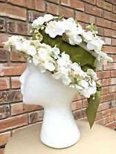"""New listing Antique """"G. Howard Hodge Jr� Lace Ladies Hat White Cherry Blossom Millinery Rare"""