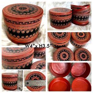 "4x3.5"" Asian Antique Burmese betel nut box, Kun it, Burma lacquerware"