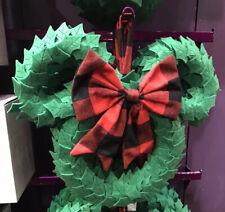 Disney Parks Yuletide Farmhouse Mickey Icon Plush Holiday Christmas Door Wreath