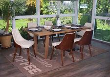 6x chaise de salle à manger Osijek, aspect noix, bois cintré ~ similicuir, crème