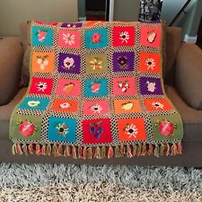 Vintage Hand Crochet Floral Print Afghan Lap Blanket Throw Retro Granny Square